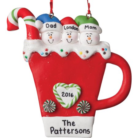 Christmas Ornaments Personalized.Personalized Christmas Ornament Snowman Coffee Mug Ornament Family Of 4