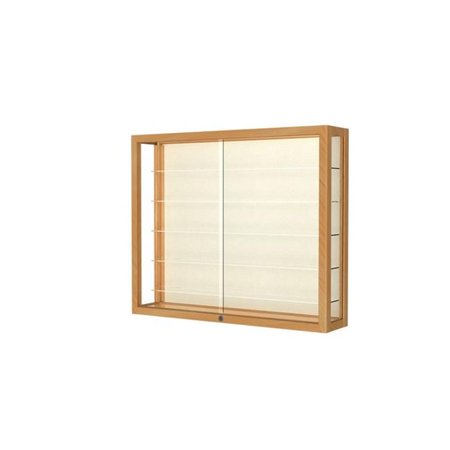 Waddell 8903M-PB-H Heirloom 36 x 30 x 8 in. Wall Case Hardwood with 5 Shelves, Plaque Back - Honey Maple