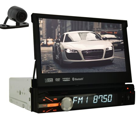 Free Camera+Universal single din Car Stereo with 7 inch HD digital Touch Screen and built-in Bluetooth Support FM and AUX Input Car DVD Player Built-in FM/AM Radio Car Logo GPS Car Headunit CD Video