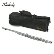 Muslady FL-200S Closed Hole C Flute 16 Keys Cupronickel Silver-plated Wind Instrument with Carry Case Cleaning Cloth Gloves Mini Screwdriver Cleaning Rod