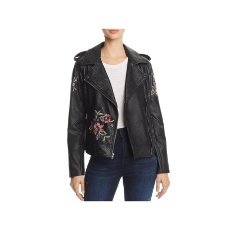 BB Dakota Womens Faux Leather Embroidered Motorcycle Jacket