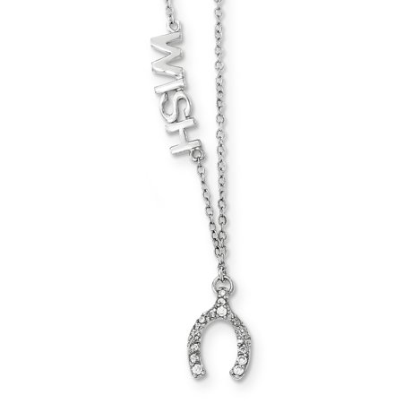 Roy Rose Jewelry Sterling Silver Polished CZ Wish Necklace ~ Length 18'' inches