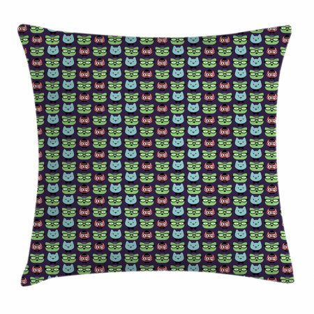 Geek Throw Pillow Cushion Cover, Various Cat Characters Wearing Geek Fashion Glasses and Hats Themed Graphic Print, Decorative Square Accent Pillow Case, 16 X 16 Inches, Multicolor, by (Square Geek Glasses)