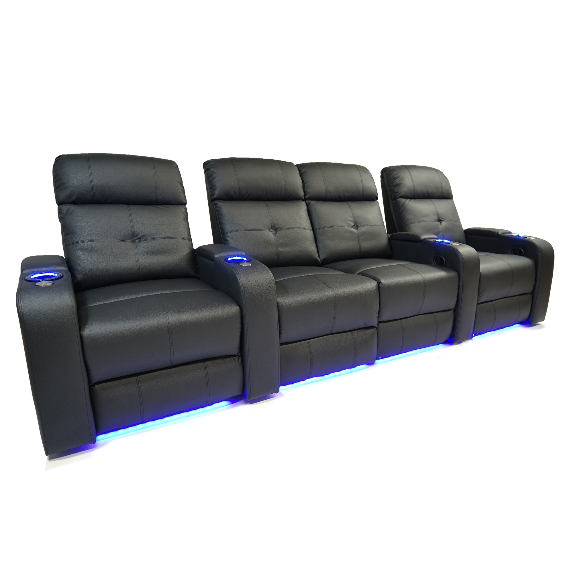 Valencia Verona Top Grain Leather LED Power Home Theatre Seating Row of Four Love Seat Centre - 4 seat - image 6 de 6