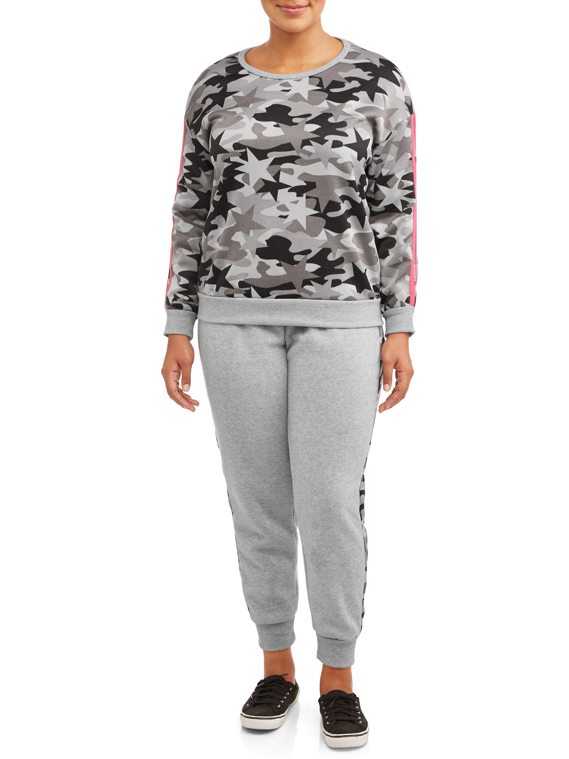 Plus Size Printed Crewneck Pullover and Side Striped Jogger Set