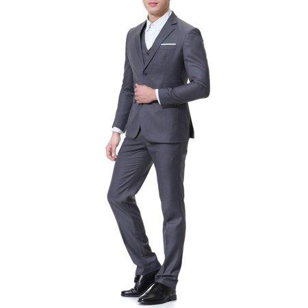 Mens Slim Fit 3 Piece Two Button Formal Suit XL Custom Fit Three Button Suit