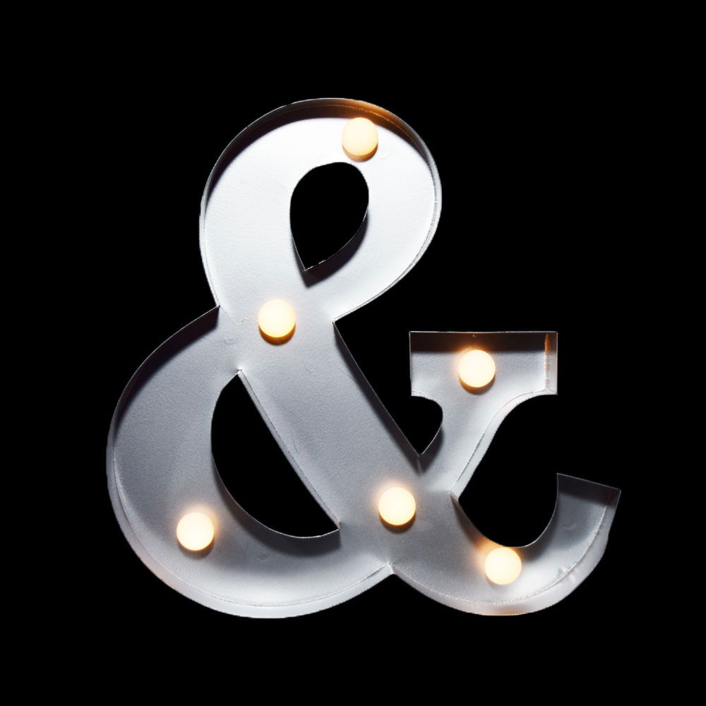 Marquee Light Symbol Ampersand Led Metal Sign 10 Inch