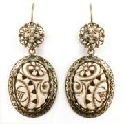 Sweet Romance  Ivorine Floral Ovals Earrings