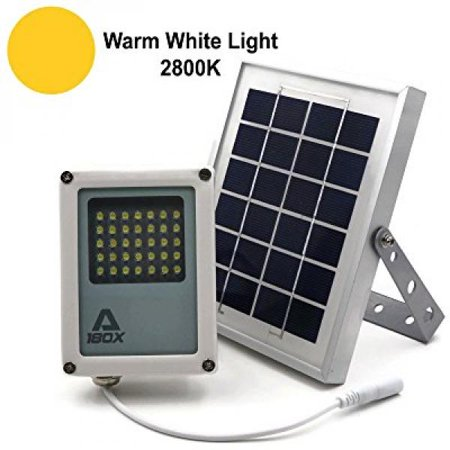 Alpha 180X Solar Flood Light  Warm White Led  As Security Floodlight And Area Lighting For Farm Area  Yard  Home Garden  Remote Cabin  Alley  Warm White Light