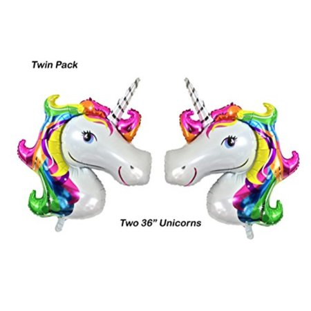 Unicorn Balloons by PartyPlace, Helium large balloon Rainbow for Kids Birthday party, baby shower, bridal, wedding 2 Pack - Helium Baby Shower Balloons
