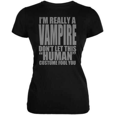 Halloween Human Vampire Costume Juniors Soft T Shirt - White Vampire