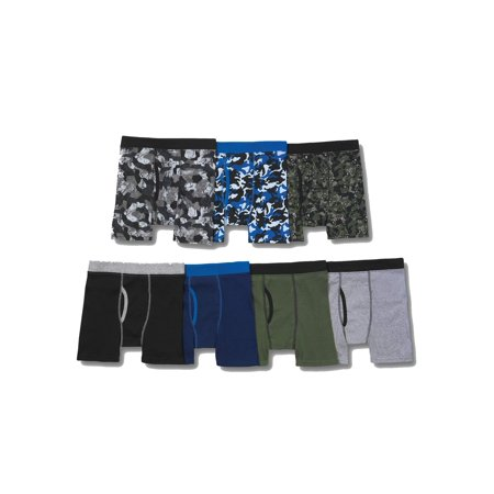 Hanes Boys' Tagless Boxer Briefs, 7 Pack, Assorted Colors, XL