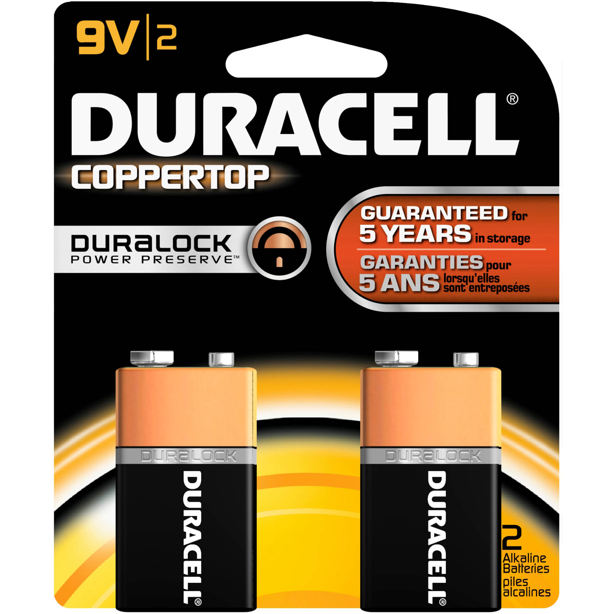 Duracell CopperTop Alkaline 9V Batteries, 2 count