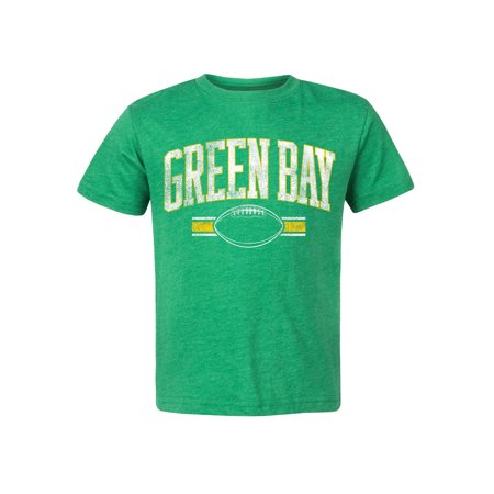 Boys Green Bay Football Fan Distressed Cotton Graphic Tee Shirt Distressed Baby Tee