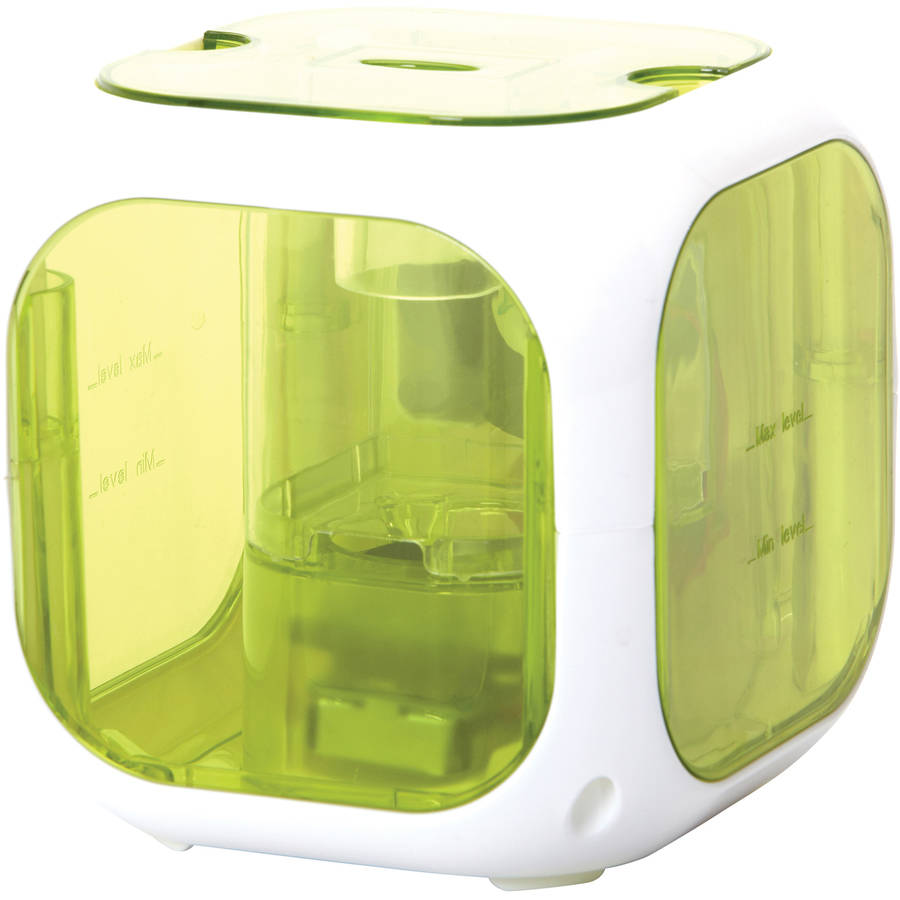 HealthSmart Cube Mate Cool Mist Ultrasonic Humidifier and Aromatherapy Diffuser, Filter Free, Green