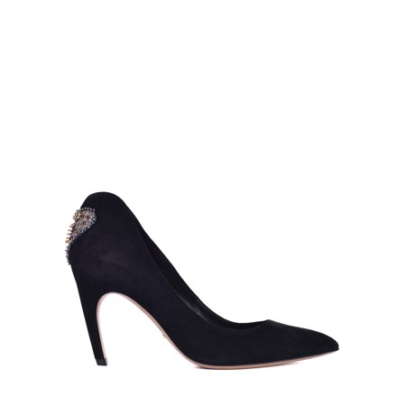 Dior Womens Black Suede Dior Amour Embroidered Pumps