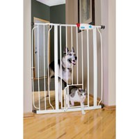 "Carlson Pet Products Extra Tall Expandable Metal Pet Gate With Small Pet Door, 41"" H, White"