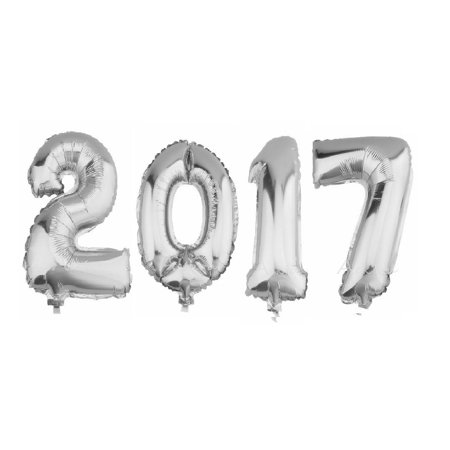 4pcs 40-inch 2017 Foil Balloons Birthday Number 2017 Helium Balloons for Graduation Christmas Party Decoration (Silver)