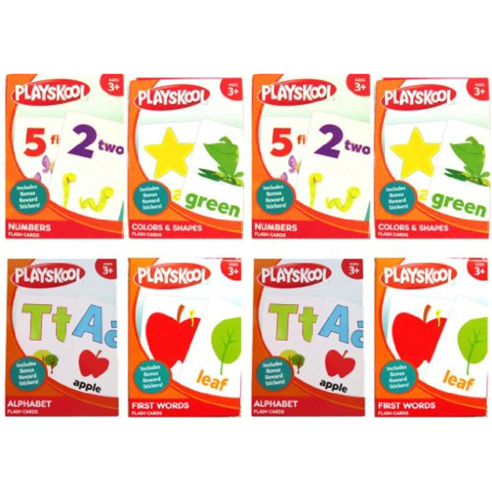 Playskool Early Learning Flash Cards PreK-K 8-Pack ~ Alphabet, Colors & Shapes, First... by