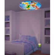 Disney Fairies Tinkerbell & Friends Projectables LED Plugin Night Light - an image of Tinkerbell, Iridessa & Rosetta is projected out of the Night Light