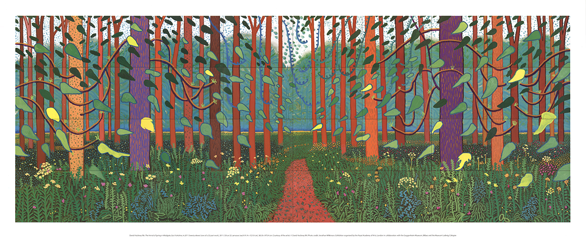 """East Yorkshire 20.5/"""" x 50/"""" DAVID HOCKNEY The Arrival of Spring in Woldgate"""