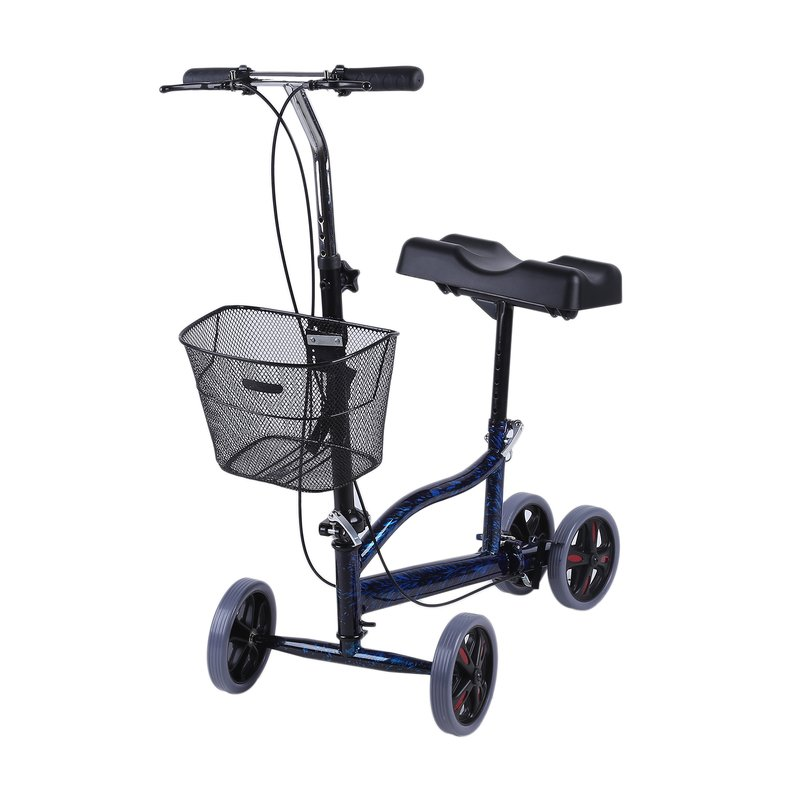 NEW Upgraded Walker Scooter Knee Cycle Lift Cart Steerable Turning Folding Heavy Duty Crutches Alternative With Shopping Basket(Black)