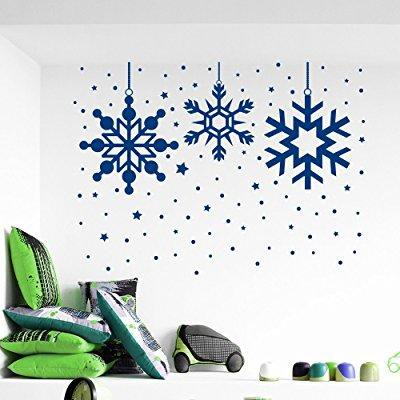 christmas wall stickers snowflake snow decal holiday decorations vinyl home shop window door art decor removable murals mr871 (Snowflake Decals)
