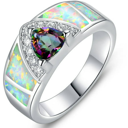 White Lab Created Fire Opal 18kt White Gold-Plated Ring