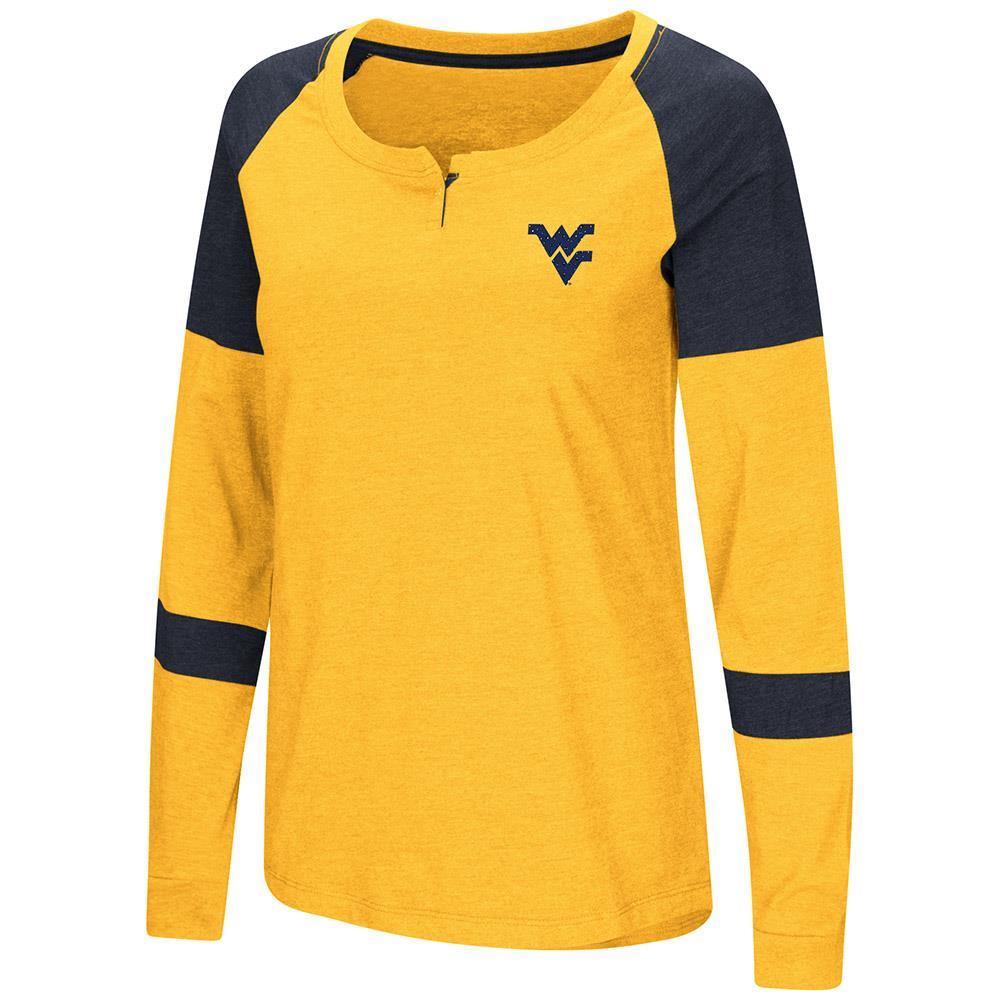 Womens WVU West Virginia Mountaineers Long Sleeve Raglan Tee Shirt S by Colosseum