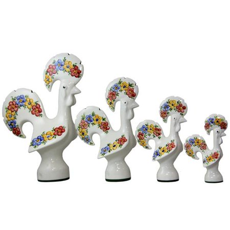 Finely Hand Painted Ceramic (Portuguese Hand Painted Ceramic Decorative Figurine Rooster Spring)