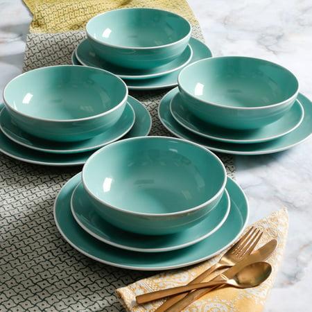 Mainstays White Rim Aqua 12 Piece Two Tone Dinnerware Set