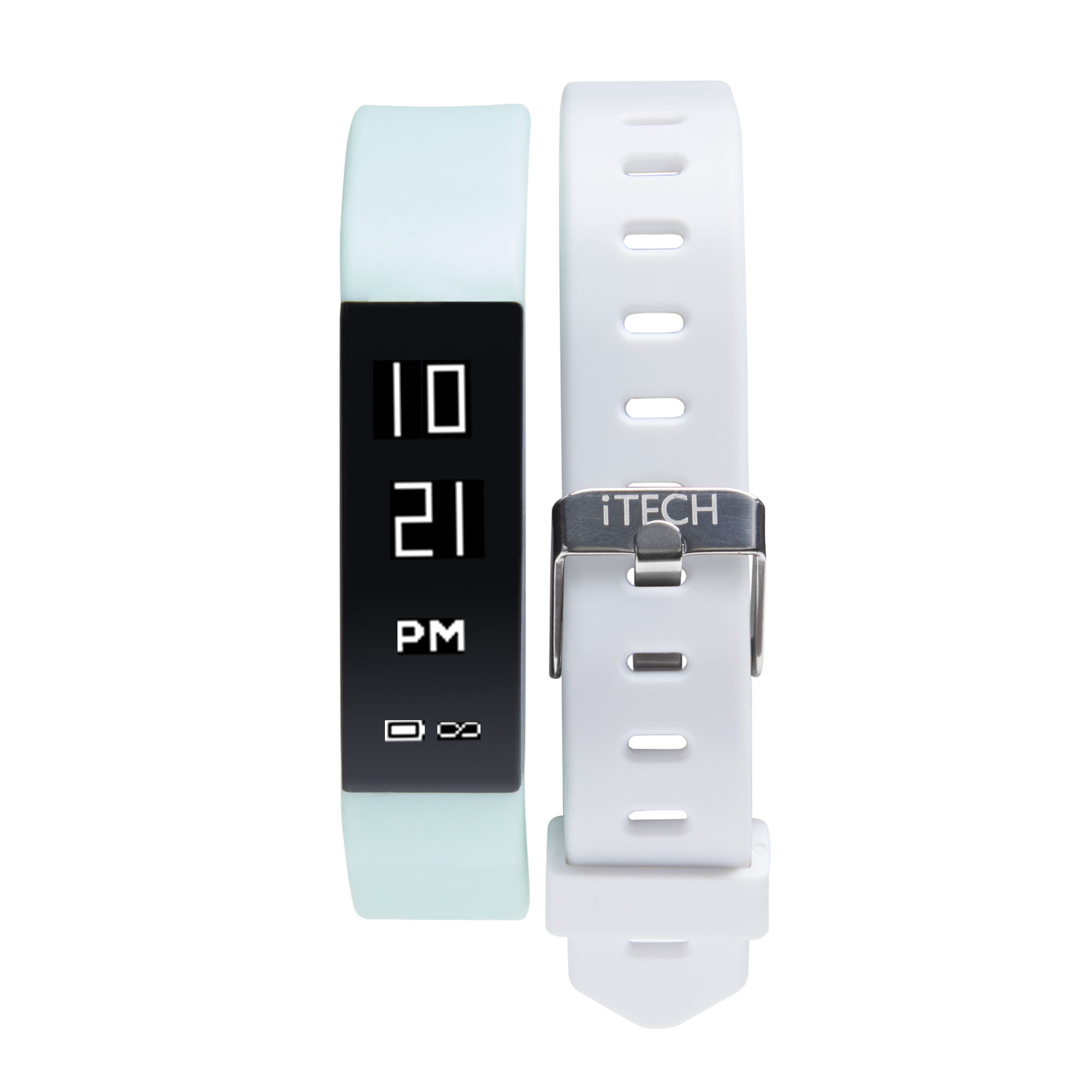iTech Sport Activity Tracker with Interchangeable Strap, Mint/White
