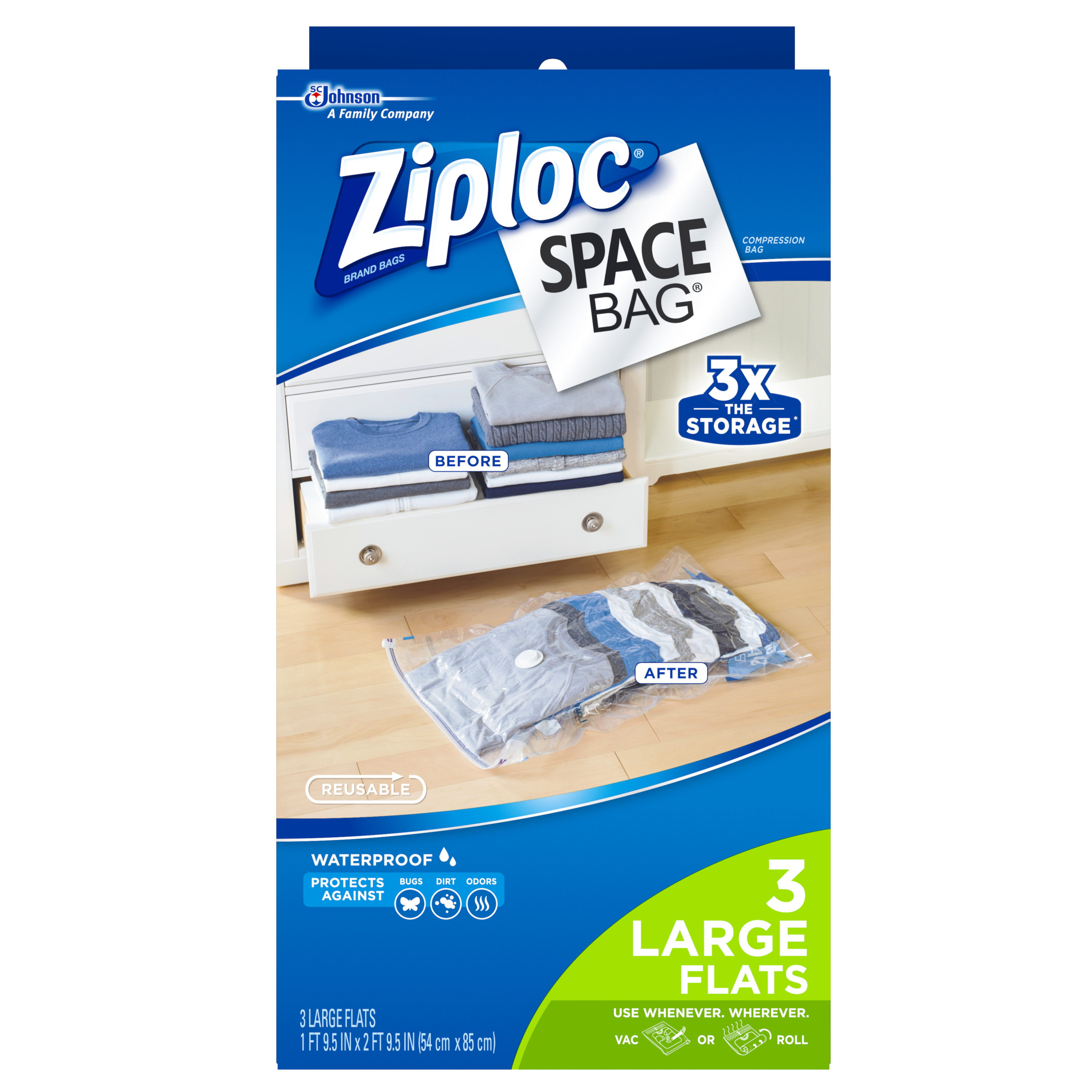 Ziploc Space Bag 3 count Large Dual-Use Flat Bag