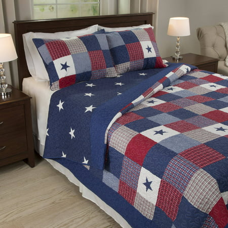 Somerset Home Luxe Americana Caroline 3 Piece Full/Queen Quilt Bedding Set
