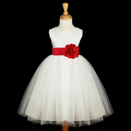 e6cc75ed49 Ekidsbridal White Satin Tulle Formal Flower Girl Dress Special Occasion  Dresses Communion Dress Evening Gown Baptism Dress Holiday Dresses Wedding  Tulle ...