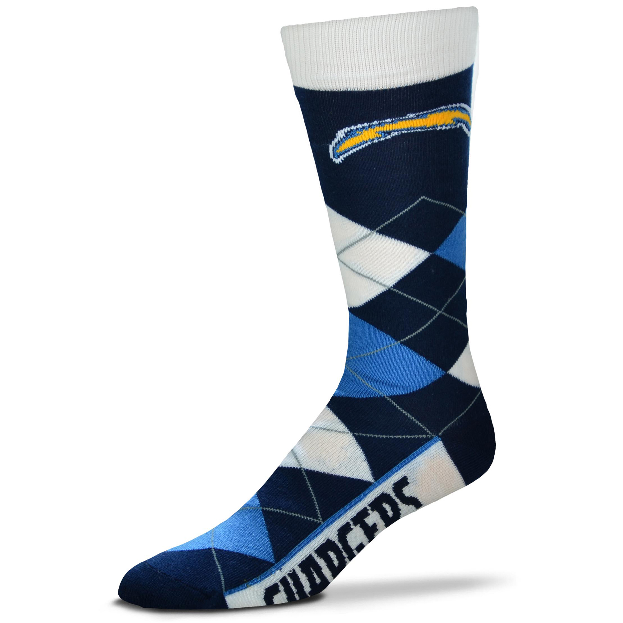 Los Angeles Chargers For Bare Feet Argyle Crew Socks - No Size