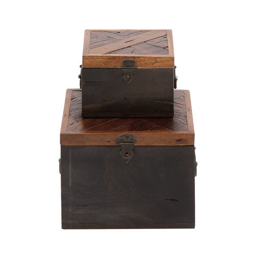Woodland Imports The Simple 2 Piece Wood Box Set