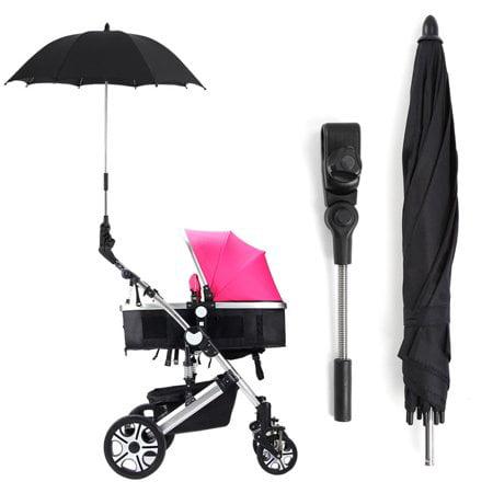 WALFRONT Sun Rain Parasol Umbrella + Clip Black,Baby strollers Umbrella,Baby Stroller Wheelchair Pushchair Pram UV Rays Sun Rain Parasol Umbrella + Clip Black](Black Parasol)