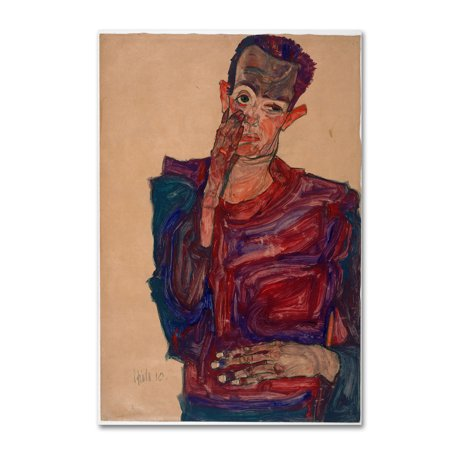 Trademark Fine Art 'Self Portrait With Eyelid Pulled Down' Canvas Art by Egon (Egon Schiele Self Portrait With Striped Shirt)