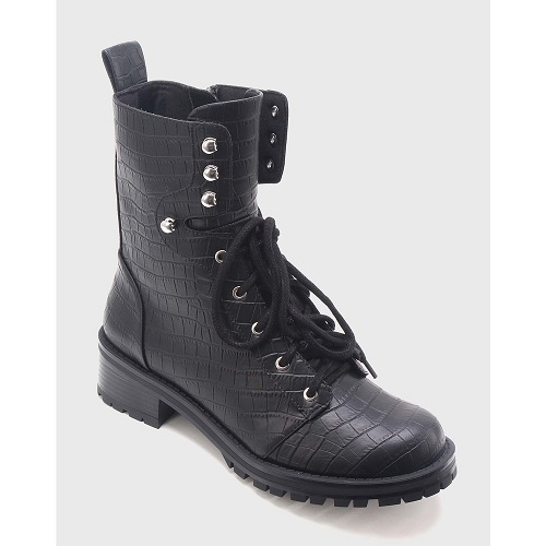 Women's Violet Croc Combat Boots Who What Wear - Black 8
