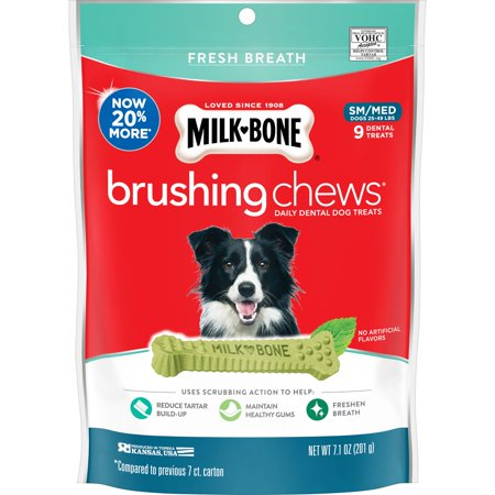 Milk-Bone Brushing Chews Daily Dental Dog Treats, Fresh Breath, Small-Medium, 7.1 Ounces, 9 Bones Per Bag