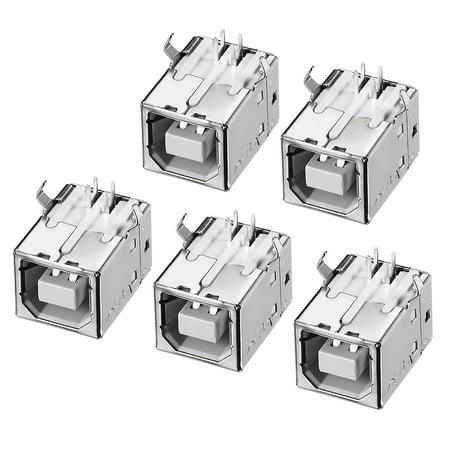 PCB USB Connector Type-B Female Jack 90 Degree DIP Printer Port 5pcs