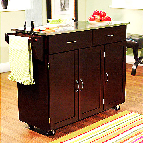 Extra Large Kitchen Cart, Espresso With Stainless Steel Top