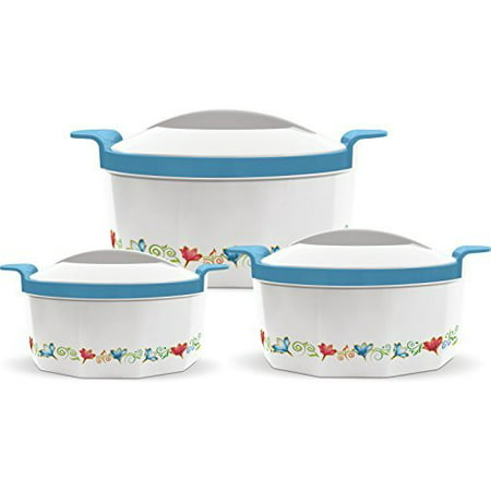 Milton Fionna Insulated 3-Piece Keep Hot / Cold Casserole Set with Stainless Steel Inner 2.5L, 1.5L, (Ceramic Steel Casserole)