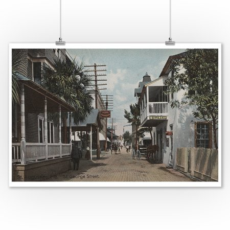 St. Augustine, Florida - View of St. George St. #1 (9x12 Art Print, Wall Decor Travel Poster)