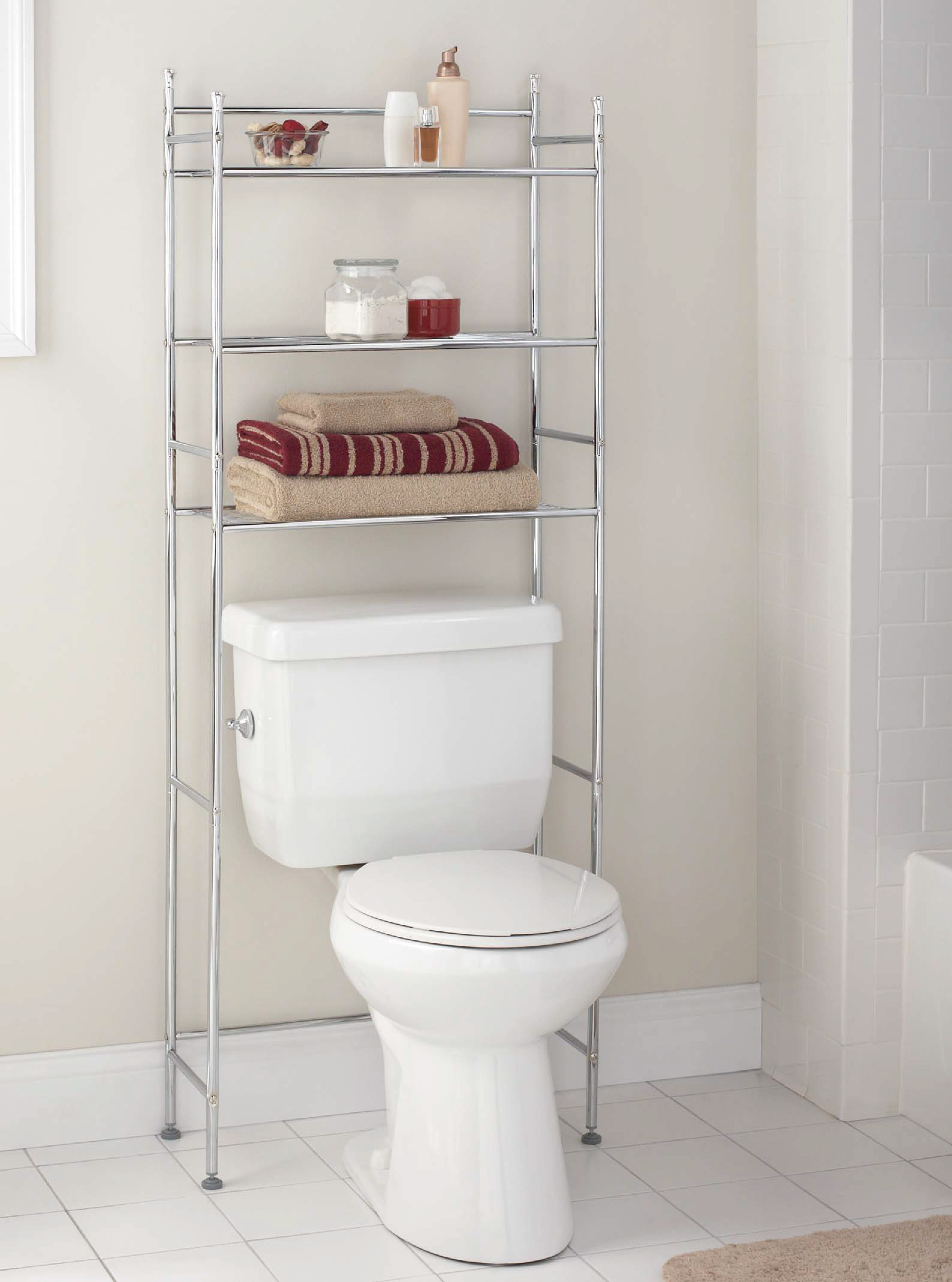 Mainstays 3 Shelf Bathroom Space Saver, Chrome Finish