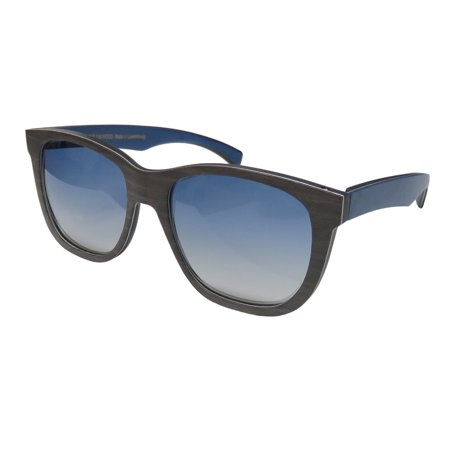 New Gold & Wood Toliman Mens/Womens Designer Full-Rim Wood Gradient Gray / Blue Wood Optimal Eye Protection Prestigious Must Frame Gradient Blue Lenses 55-18-135 Flexible Hinges (Gold And Wood Sunglasses)