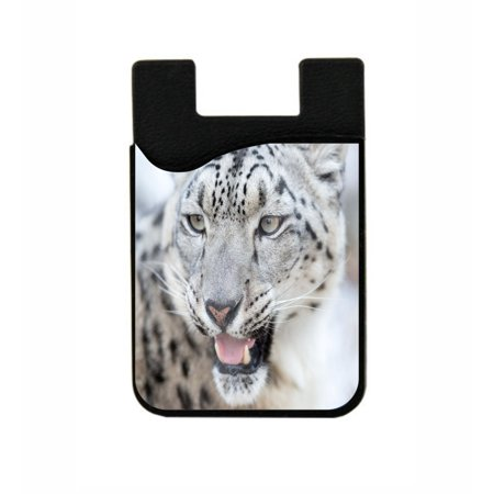 Snow Leopard Up-Close -  Stick On Adhesive Black Silicon Card Holder/ Pocket for Cell Phones](Stick Snow)