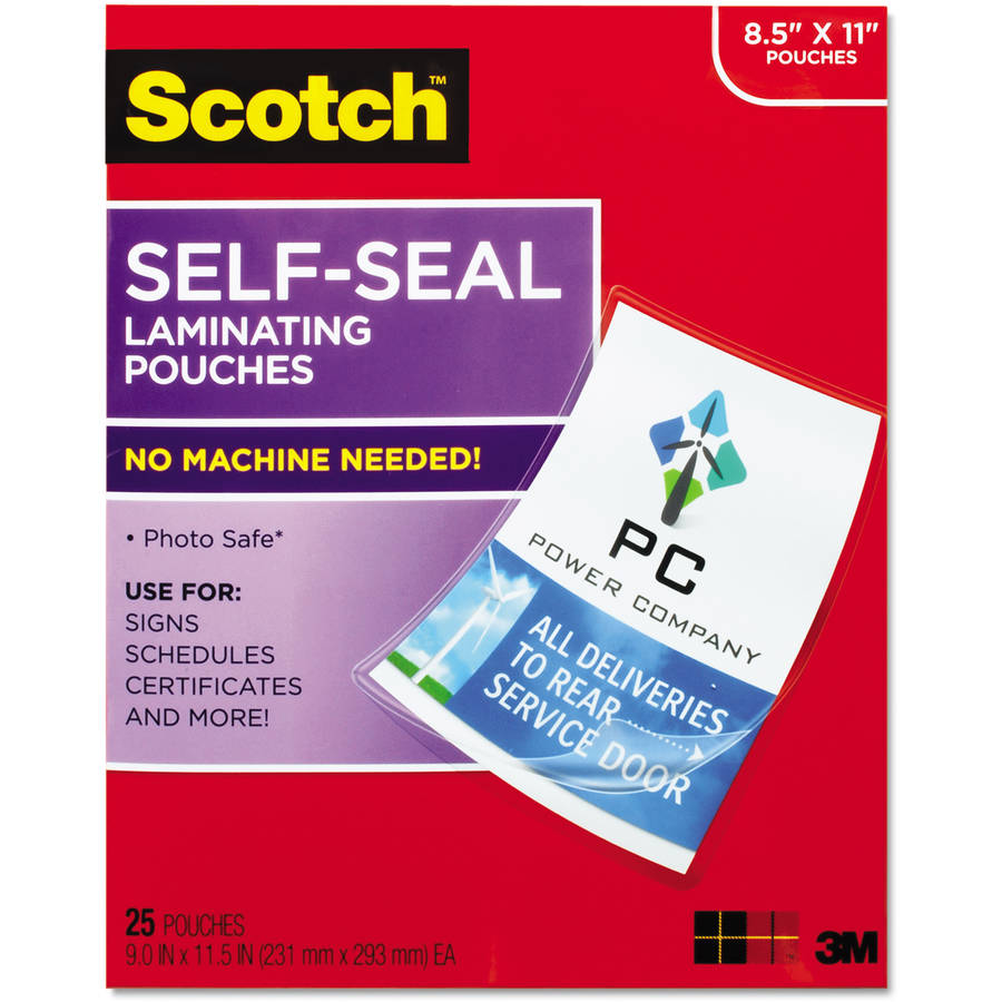 Scotch Self-Sealing Laminating Sheets, Letter Size, 25pk