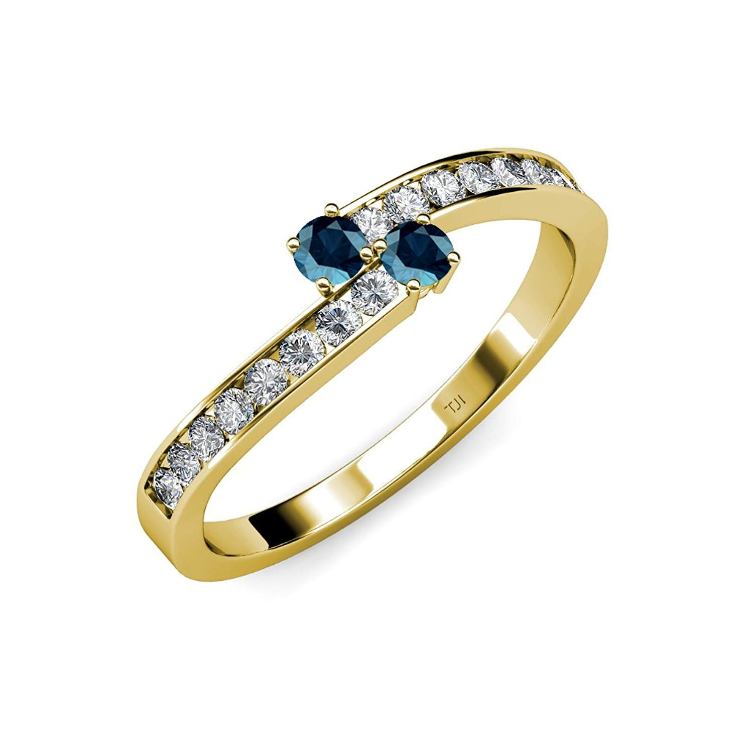 Blue Diamond 2 Stone with Side Diamonds Bypass Engagement Ring 0.86 ct tw in 14K Yellow Gold.size 5.5 by TriJewels